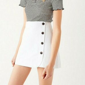 UO Shelly Twill Button Down Wrap Mini Skirt